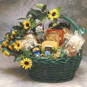 The Sunflower Treats gift basket product image Includes: 2 oz. Mini Pretzel Twists, 2 oz. Brent & Sam's Chocolate Chip Cookies, Dolcetto Chocolate Cream Filled Pastry Cookies, 2 oz. Tavolare Snack Mix, Honey Roasted Peanuts 4 oz., Camembert Cheese, Vegetable Spread, Black Olives, Mocha Chocolate Truffles 2 oz. (4 pcs), 1/2 oz. Stone Wheat Crackers, Gourmet Coffee, Cheddar Cheese Flavor Pretzel Dipping Sticks, Honey Mustard Flavor Pretzel Dipping Sticks, 7 oz. Caramel Filled Chocolates, 1.5 oz. White Cheddar Popcorn, 2 oz. Caramel Corn, 1.4 oz. Gourmet Grained Gourmet Mustard, 3 oz. Summer Sausage, Petite Fruit Candies and Medium Basket.